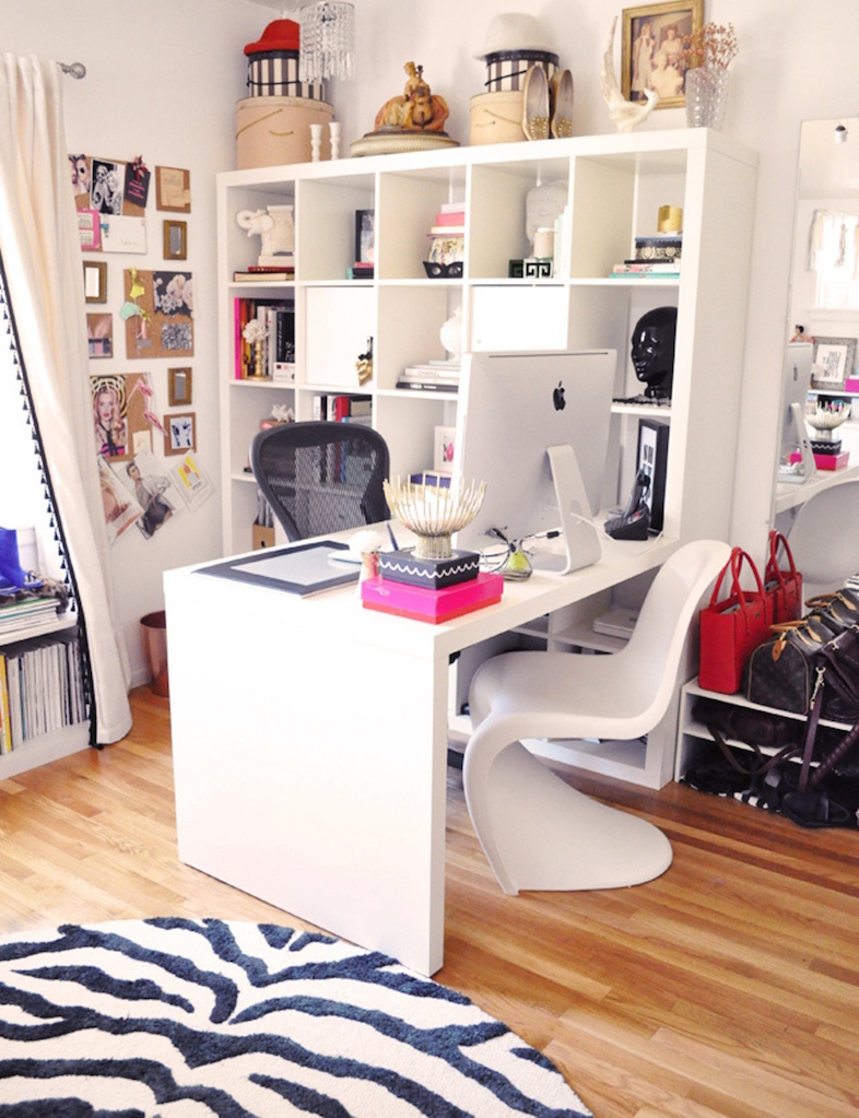 Eclectic Office Design Feat High White Rack And Unique Office