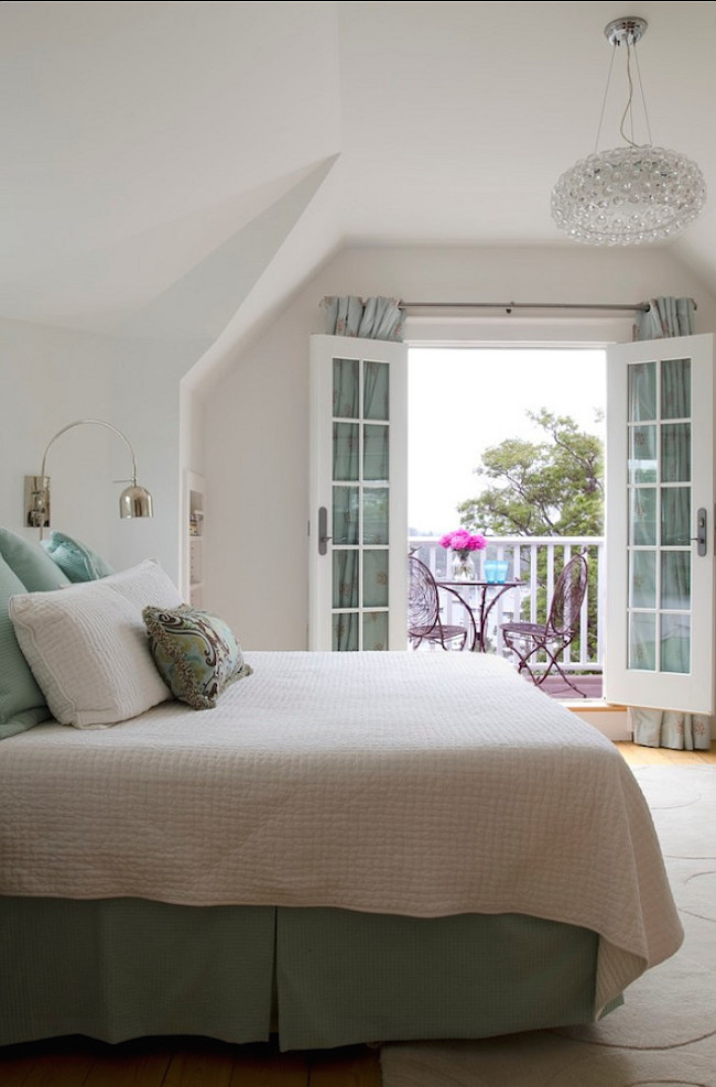 Beautiful bedroom with seafoam bedding