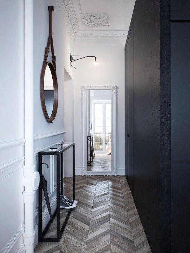 Contemporary Entryway with Herringbone Floor