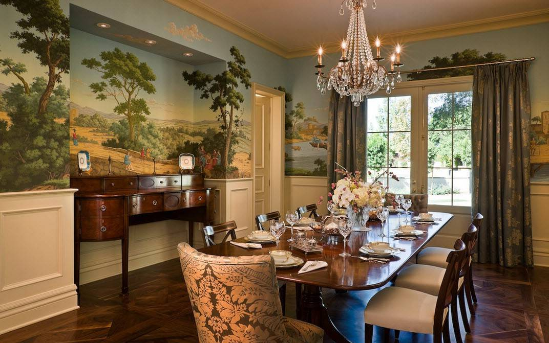 Elegant Tropical Dining Room Design With Wallpaper
