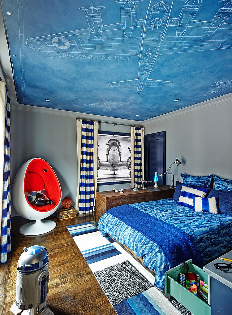 Fun contemporary-kids bedroom inspired by aviation