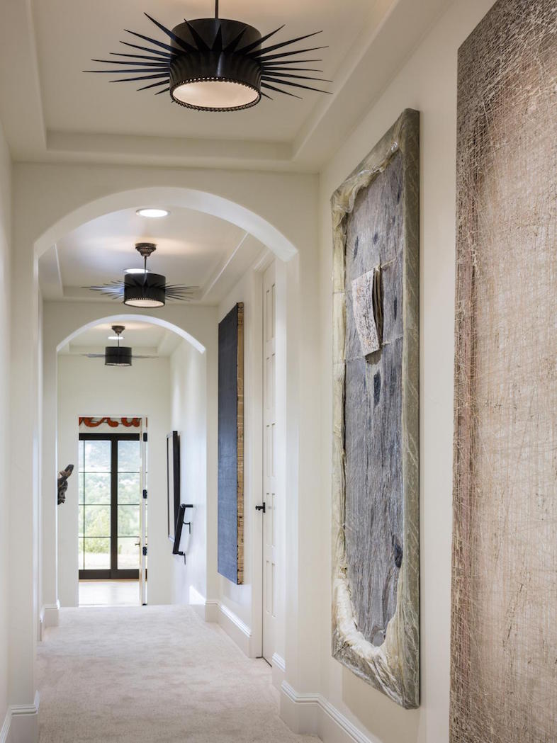 Hallway Funky Black Pendant Lights & Arched Doorways