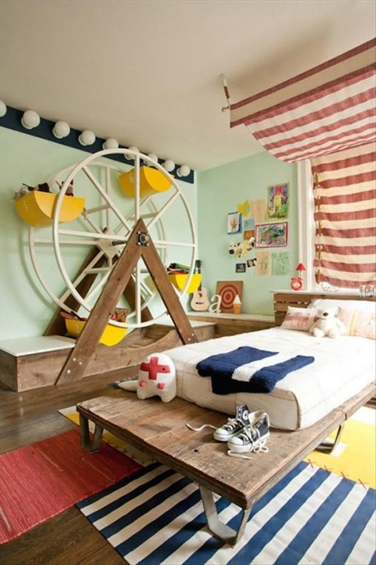 Kids Bedroom Furniture For Small Spaces With Rustic Dark Brown Wooden Floor Ideas