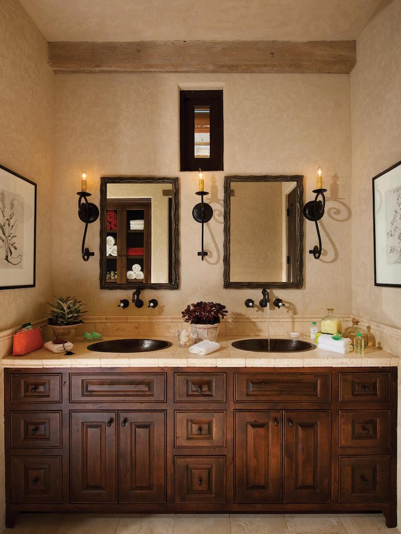 Mediterranean Master Bathroom With Dual Sinks