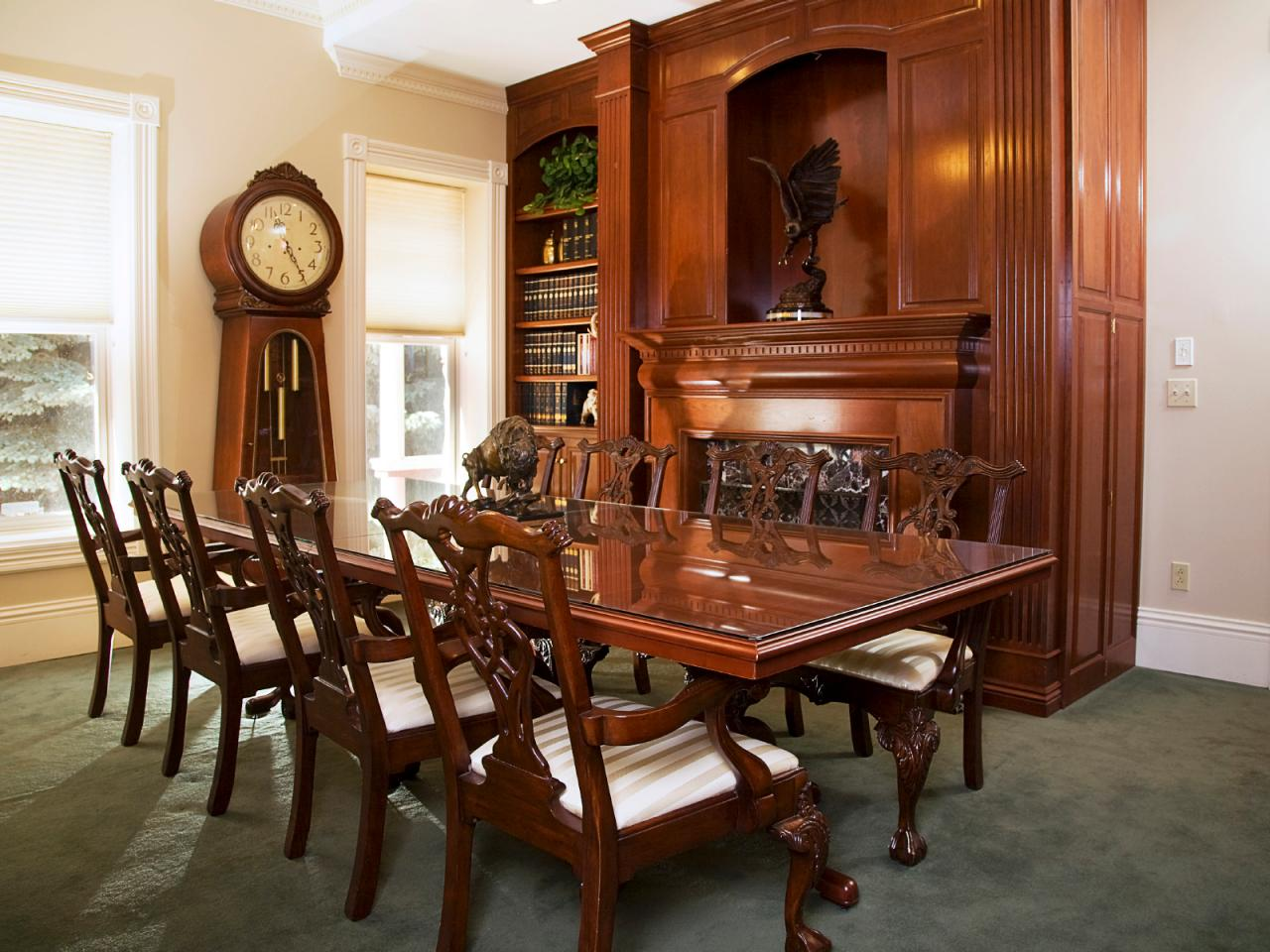 Victorian Dining Room With Rich Wood Furnishings