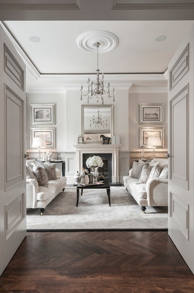 gray formal traditional classic living room