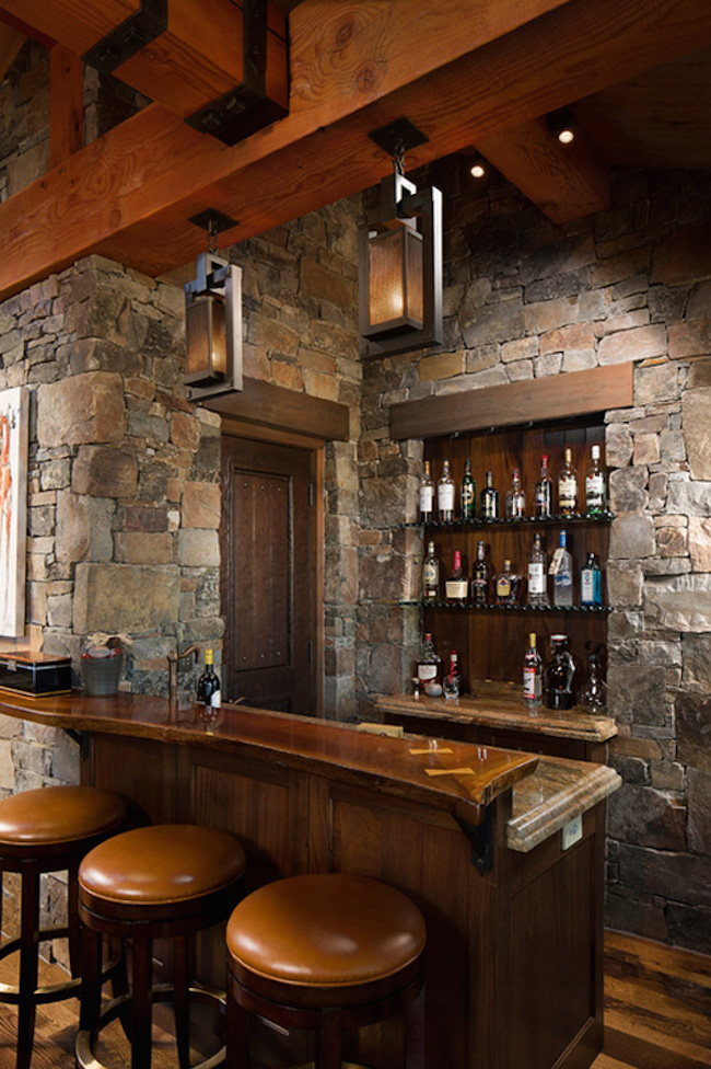 home bar design with rustic interior setting