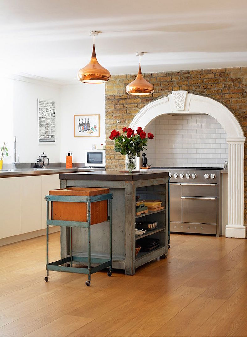 metallic glint to the Victorian kitchen