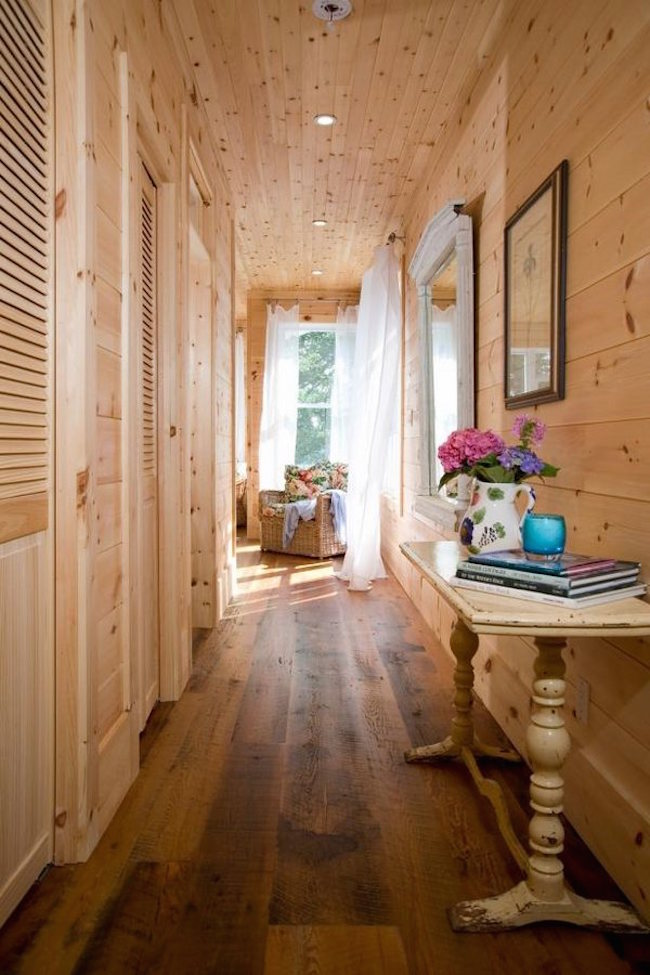 rustic hallway wood floor shiplap wall ideas