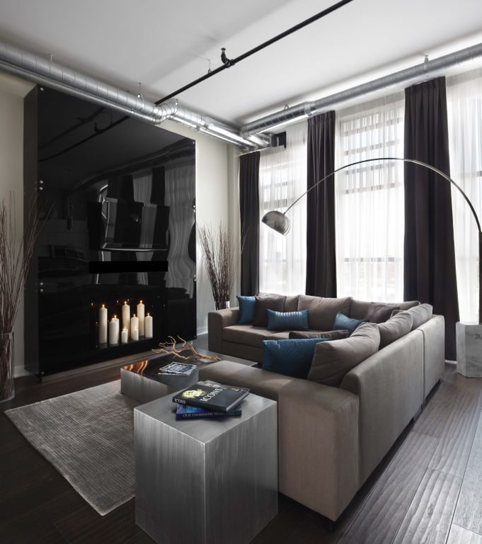 Masculine living room with cowhide rug