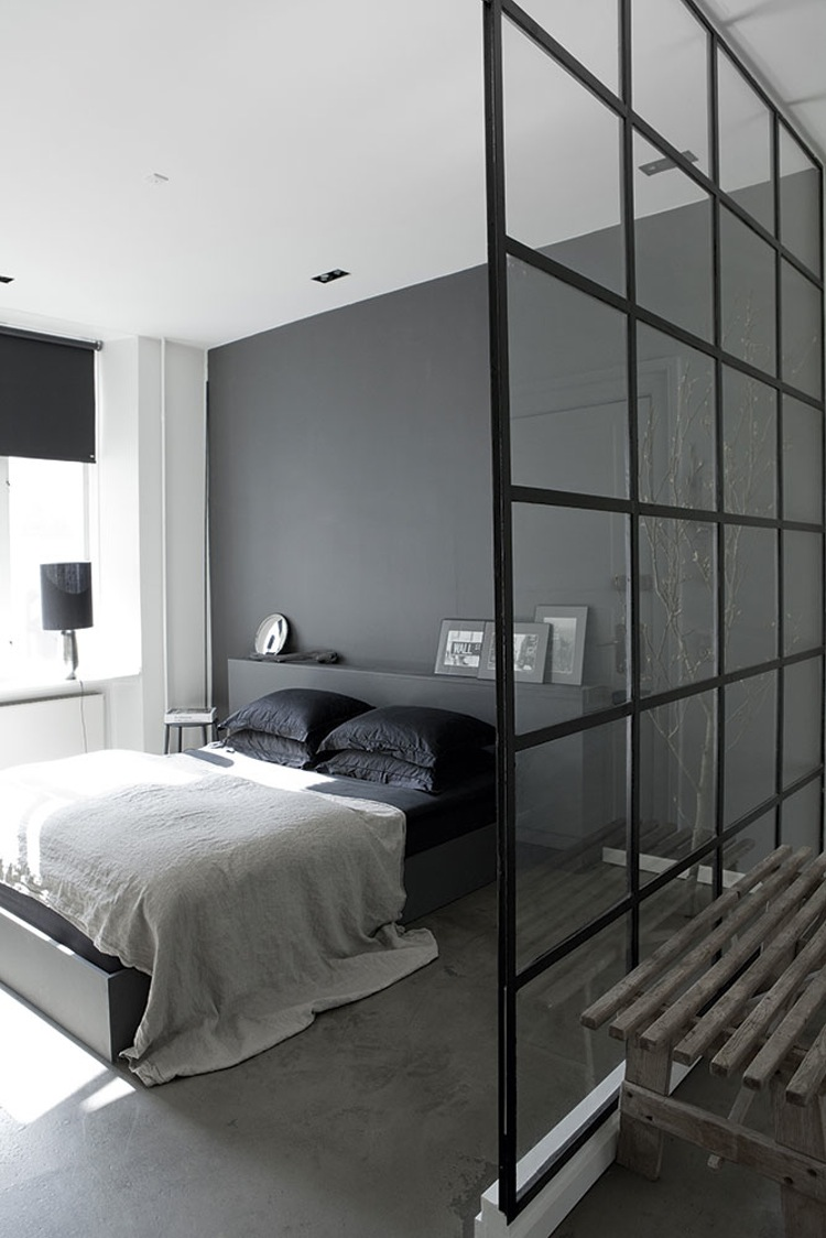 glass wall minimalish bedroom