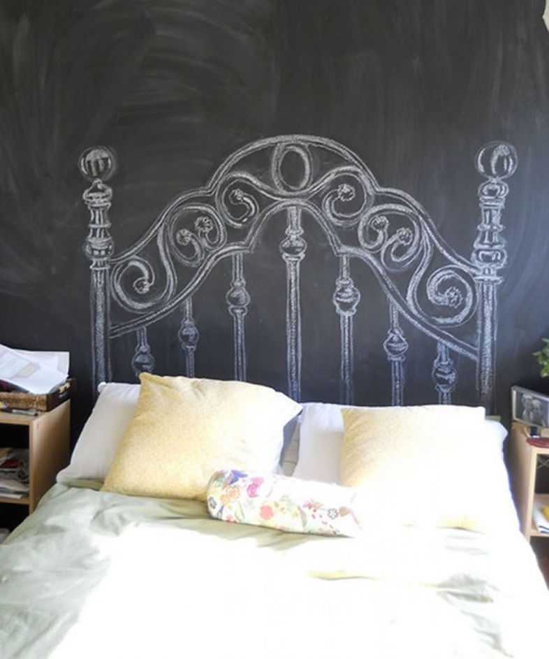 painted headboard on wall