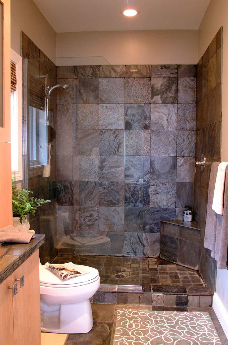 small bathroom remodel ideas with stone wall decor