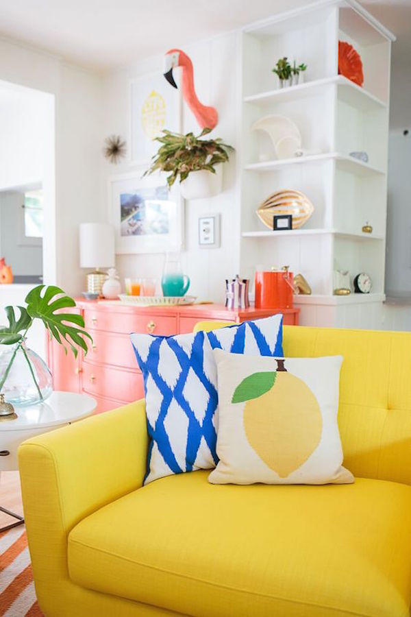 Colorful Tropical Living Room Makeover