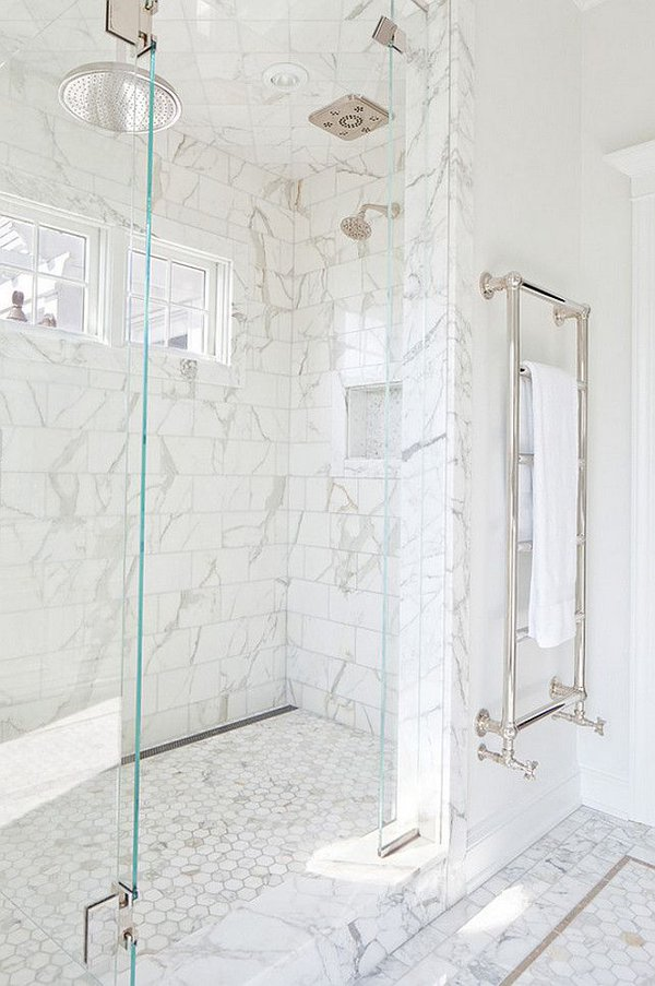 white marble tile bathroom decor