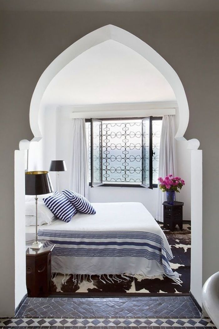 white moroccan bedroom