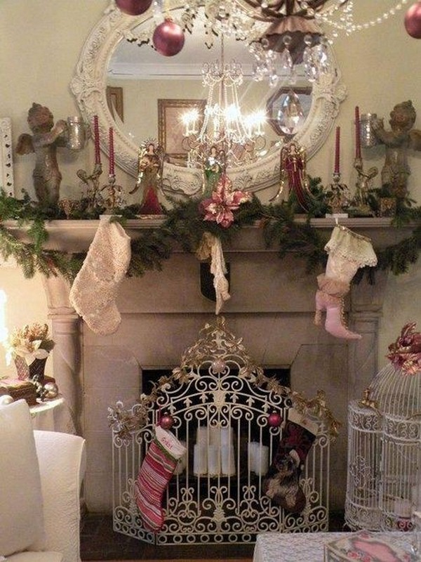 shabby chic christmas mantels