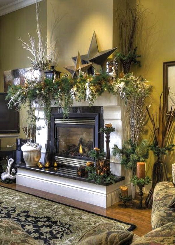 Country Fireplace Mantel Decorating Ideas