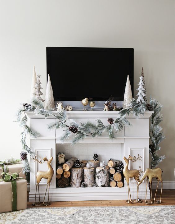 diy faux fireplace mantle with hidden storage