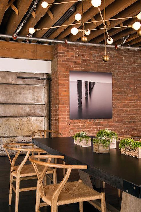 exposed brick dining room walls