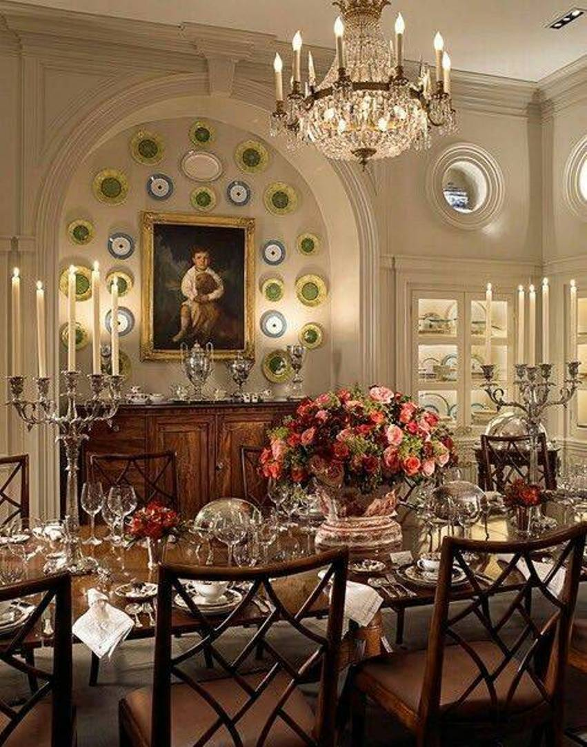 formal dining rooms with chandelier and decorative plates