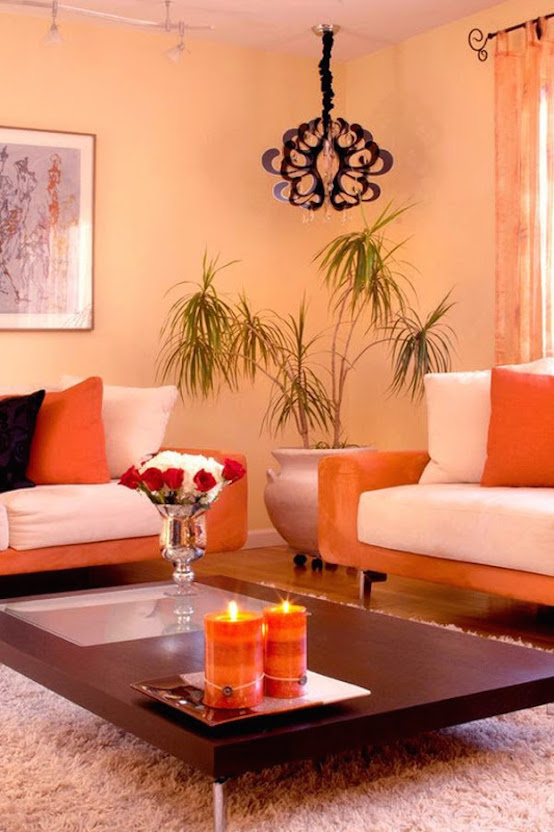 living room orange design