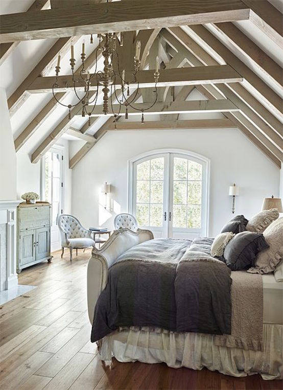 master bedroom exposed wood beams