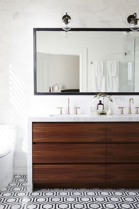 modern bathroom with walnut vanity