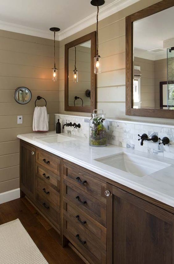 white oak double vanity and mirrors
