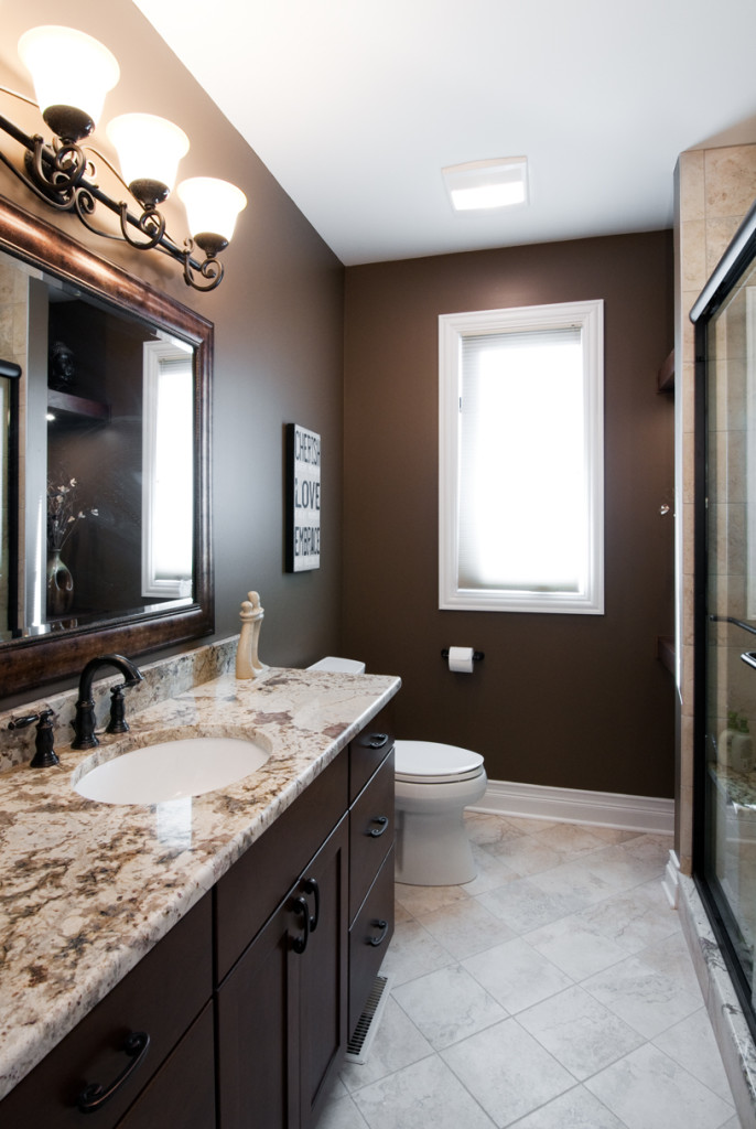 dark brown bathroom walls