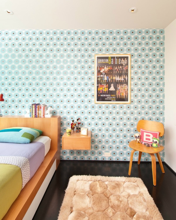 retro bedroom accent wall