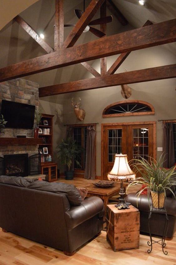35 Living Room With Exposed Wood Beams To Try This Year