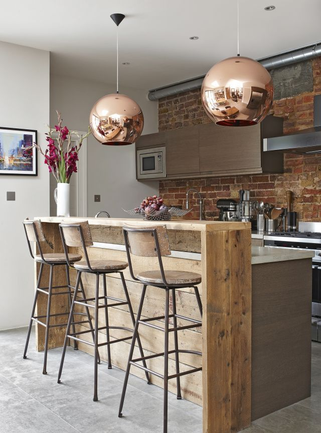 copper breakfast bar lights