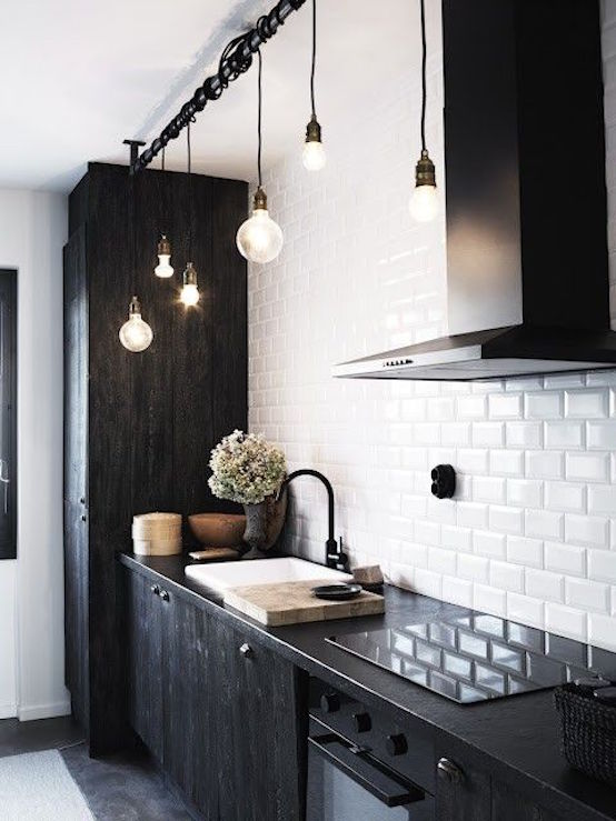 industrial black kitchen