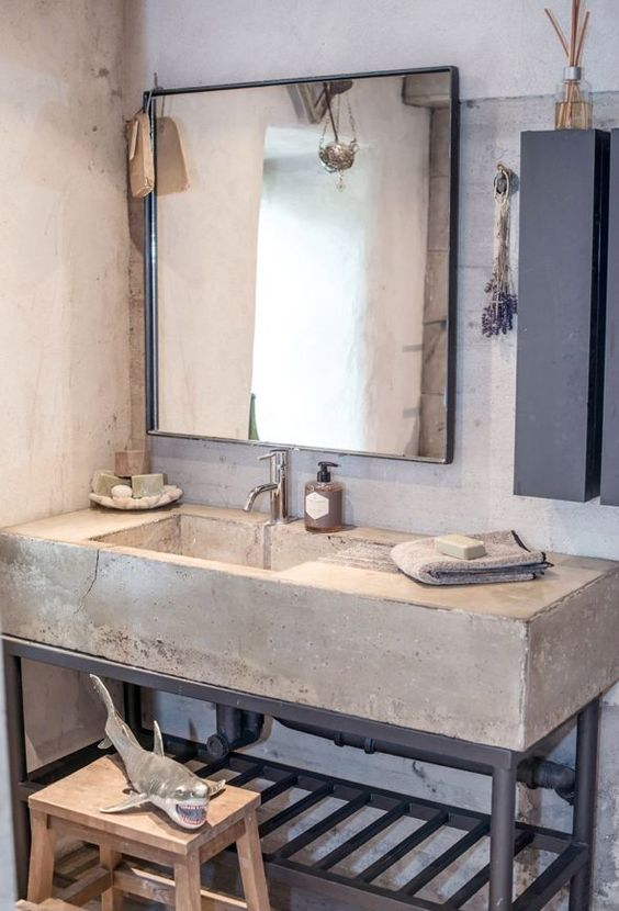 rustic concrete bathroom sink